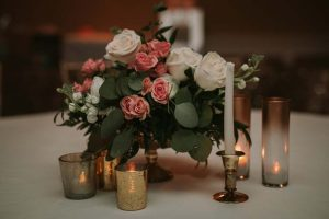 green wedding with gold accents in new brunswick - centrepieces