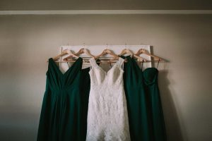 green wedding with gold accents in new brunswick - bridal gown and bridesmaid dresses