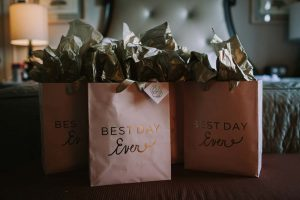 green wedding with gold accents in new brunswick - bridesmaid gifts