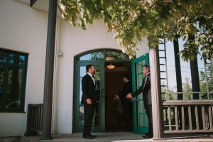 green wedding with gold accents in new brunswick - ushers
