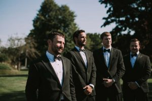 green wedding with gold accents in new brunswick - groomsmen