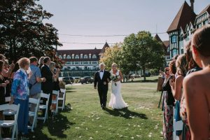 green wedding with gold accents in new brunswick - bride and father