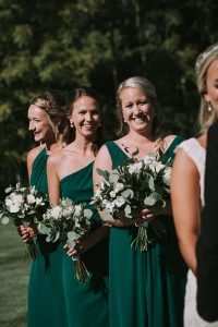 green wedding with gold accents in new brunswick - bridesamids