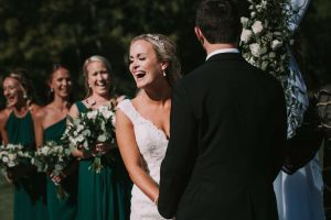 green wedding with gold accents in new brunswick - ceremony