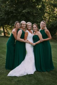 green wedding with gold accents in new brunswick - bride and bridesmaids
