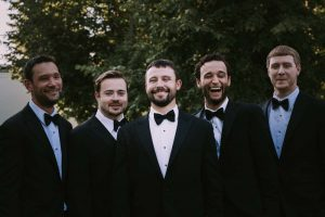 green wedding with gold accents in new brunswick - groom and groomsmen