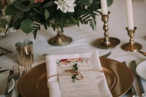 green wedding with gold accents in new brunswick - tablescape