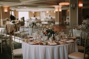 green wedding with gold accents in new brunswick - reception table