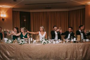 green wedding with gold accents in new brunswick - toast