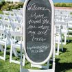 blush winery wedding in british columbia - welcome sign