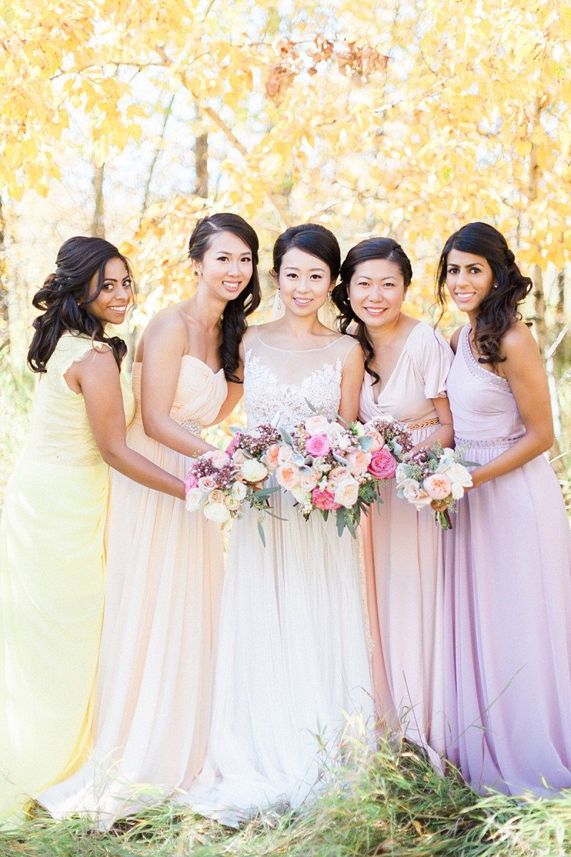 How to do mismatched bridesmaid dresses the right way weddingbells how to do mismatched bridesmaid dresses bright bridesmaid dresses ombrellifo Gallery