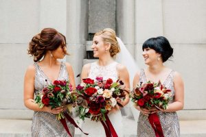 luxurious fall wedding in downtown toronto - bride and bridesmaids