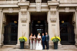 luxurious fall wedding in downtown toronto - bride and groom with wedding party