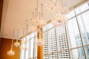 luxurious fall wedding in downtown toronto - chandeliers