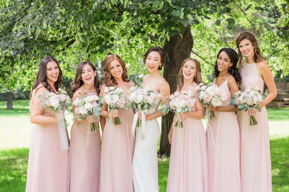 a beautiful blush and gold wedding in toronto - bride and bridesmaids