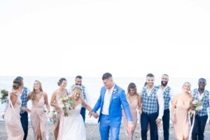 a cottage-chic summer wedding - bride and groom with wedding party