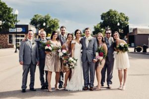a gold wedding in saskatchewan - bride and groom and bridal party