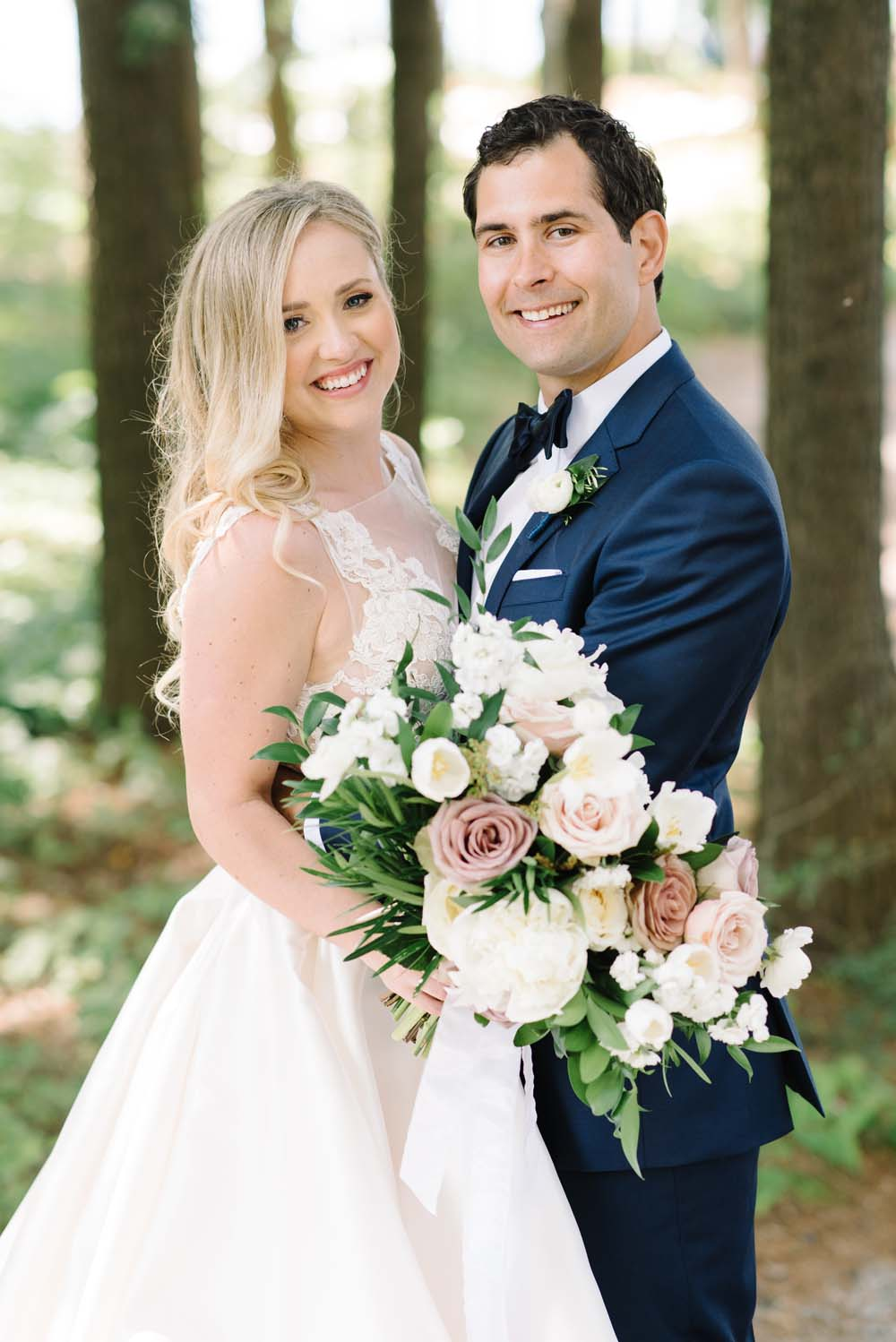 a romantic woodsy wedding in muskoka, ontario - bride and groom