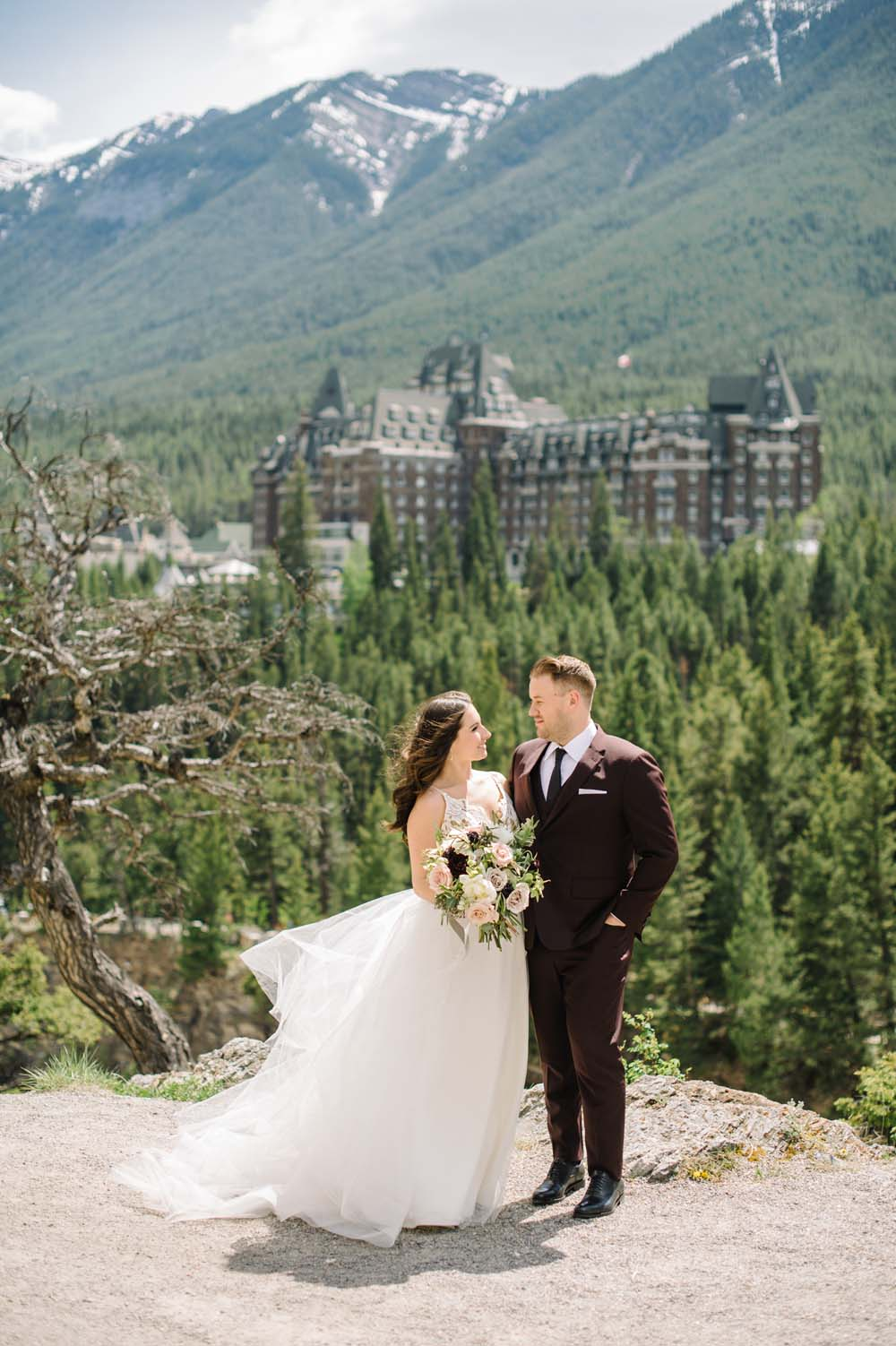timeless, elegant summer wedding in banff - bride and groom