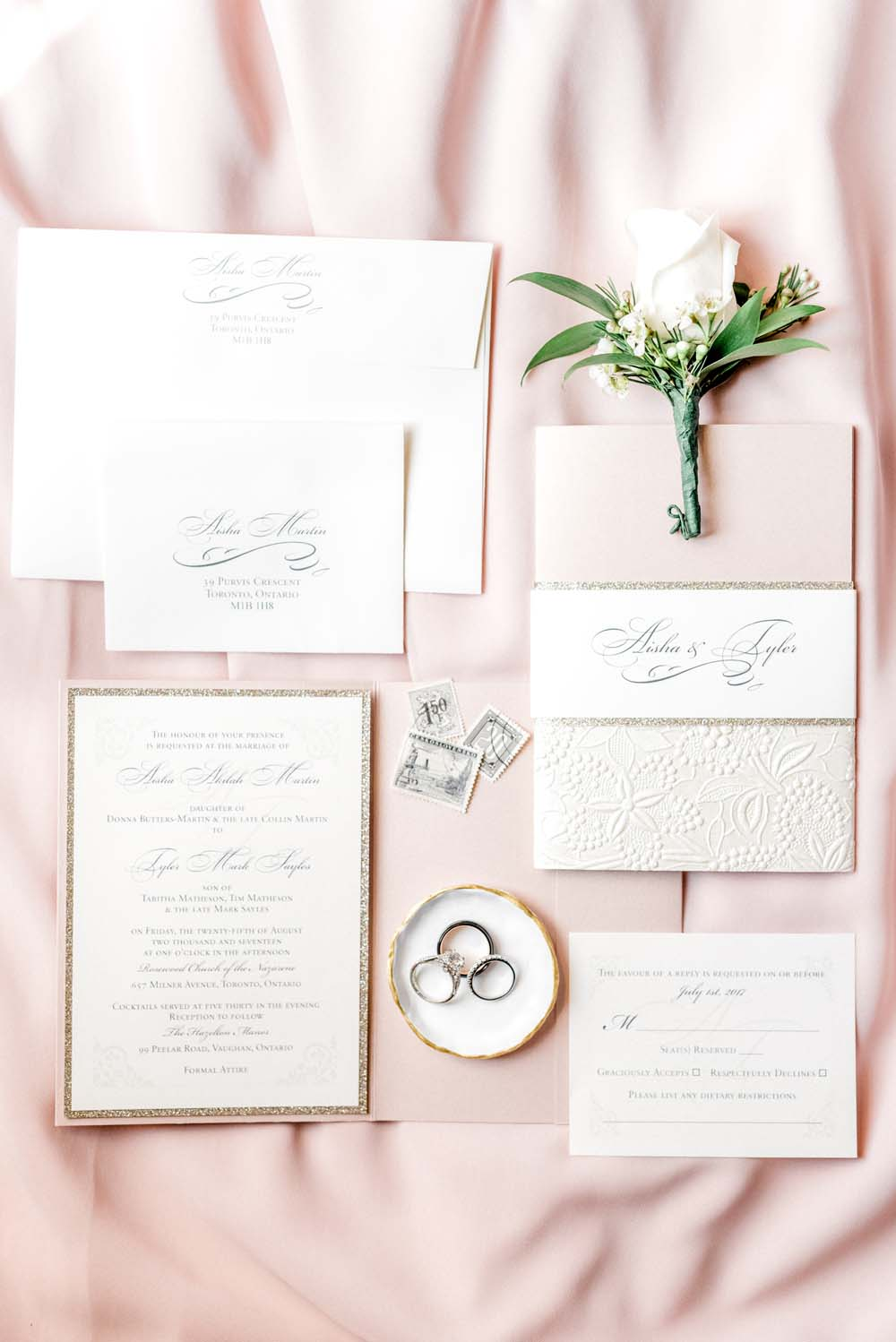 a romantic, elegant wedding in vaughan, ontario - Flat Lay