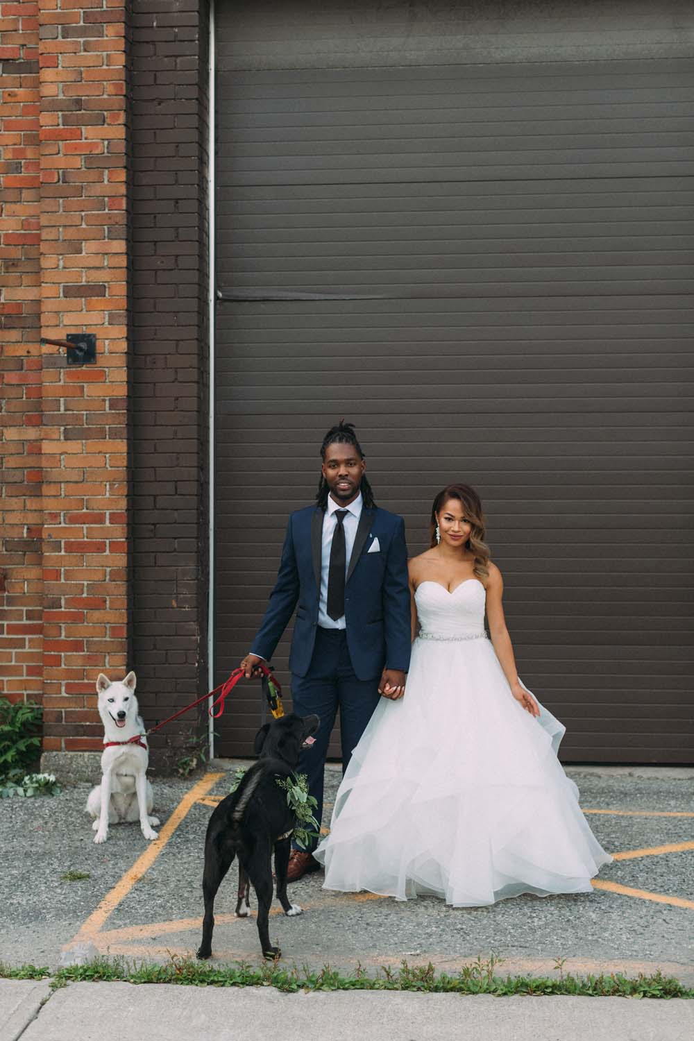 A Rustic, Industrial Wedding in Toronto, Ontario - Bride and groom with dogs