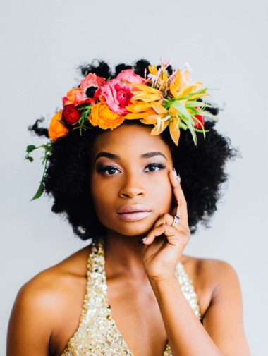 Chic Wedding Hairstyles for Curly Hair - Flower Crown