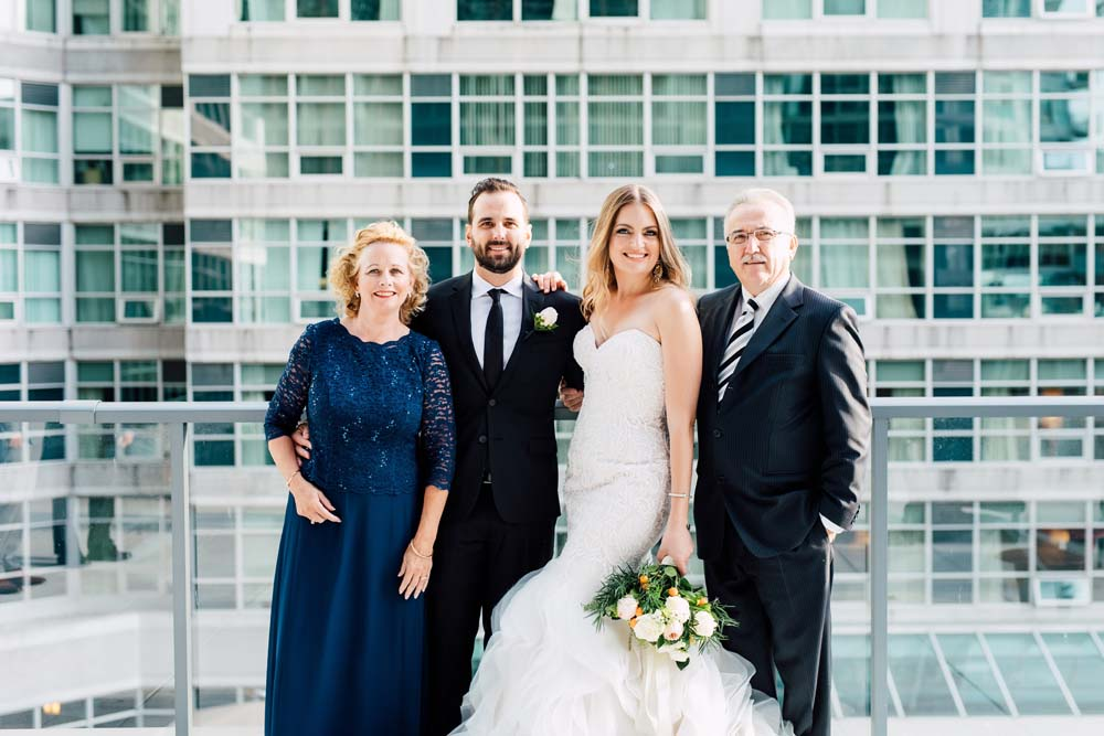 Bride, groom, and family
