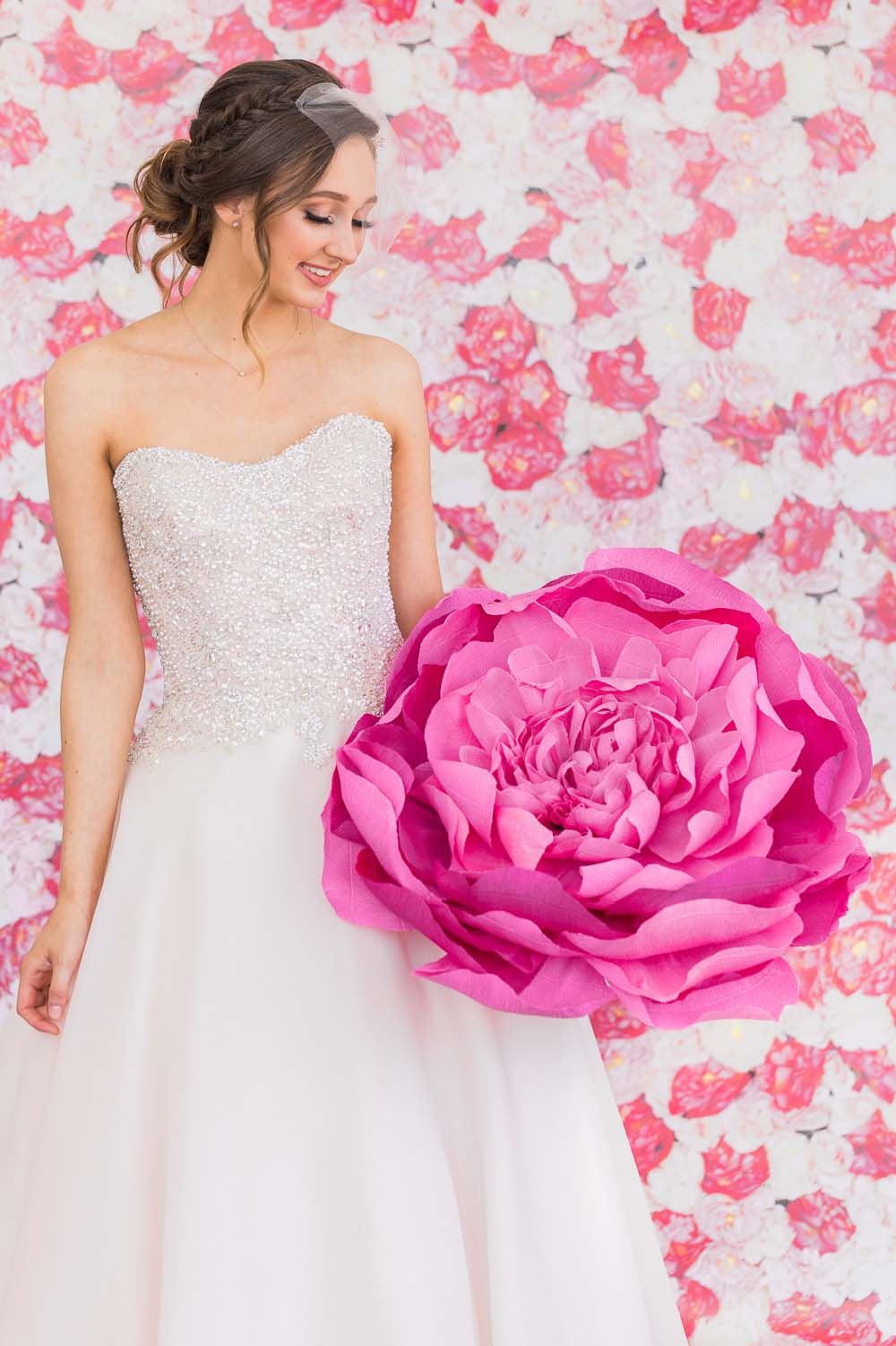The Prettiest Romantic Pink Wedding Inspiration - bride and paper peony