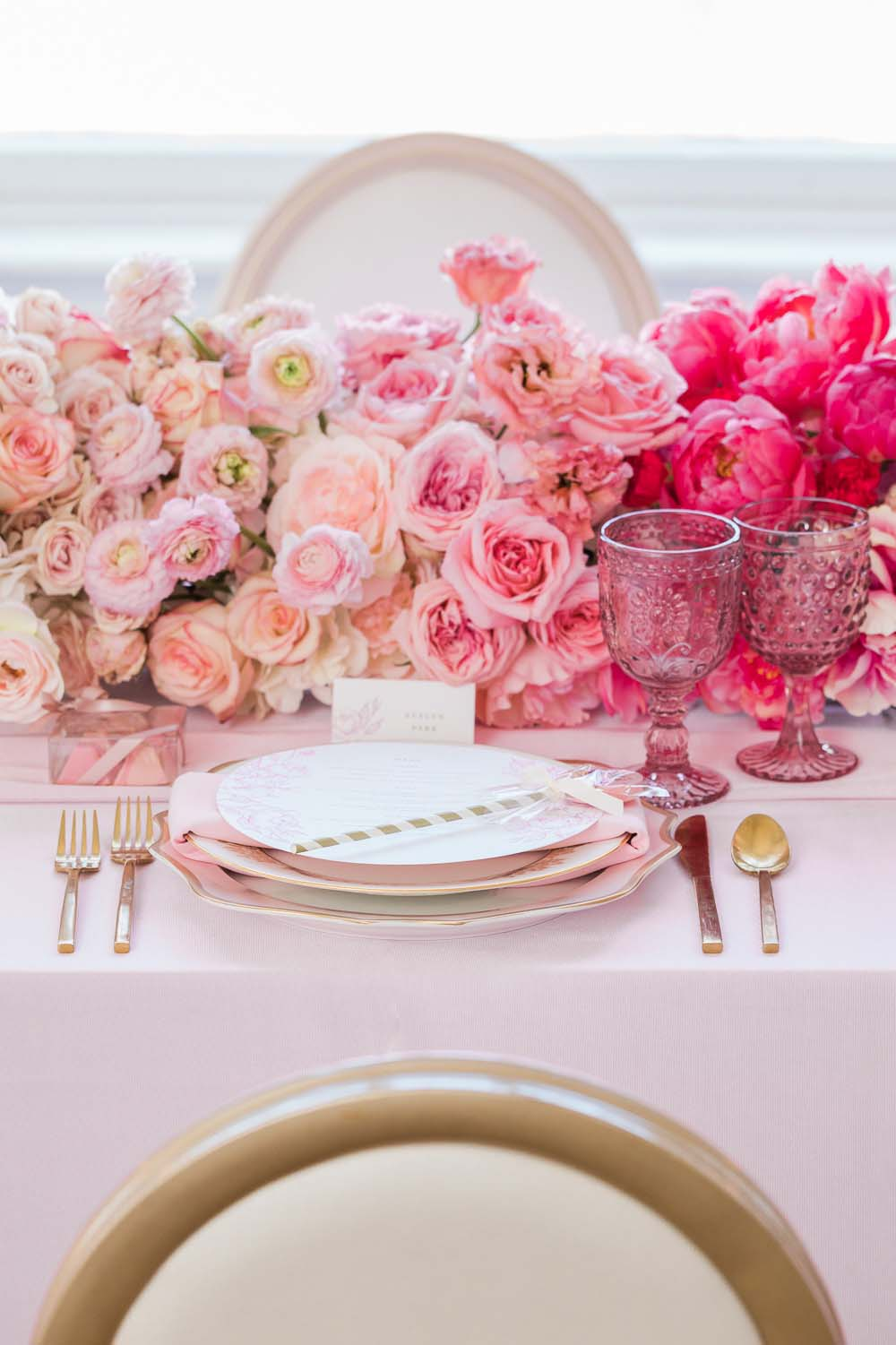 The Prettiest Romantic Pink Wedding Inspiration - pink tablescape