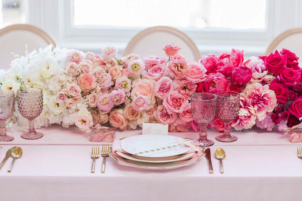 The Prettiest Romantic Pink Wedding Inspiration - pink floral centrepiece