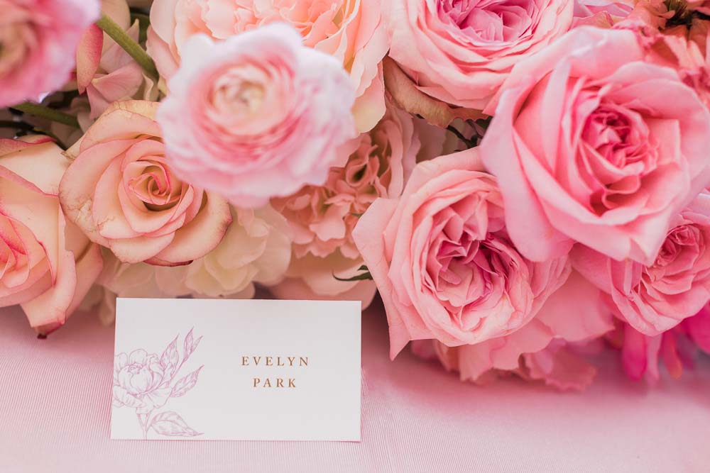 The Prettiest Romantic Pink Wedding Inspiration - place card