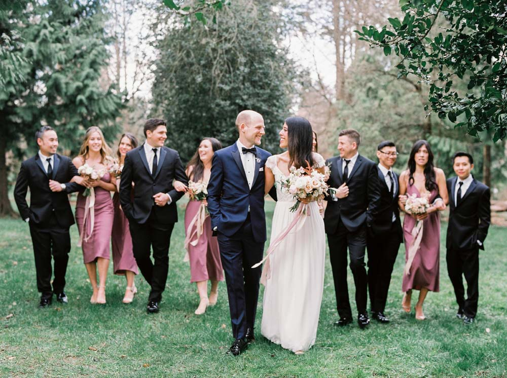 a timeless, romantic wedding in vancouver - bride and groom and bridal party