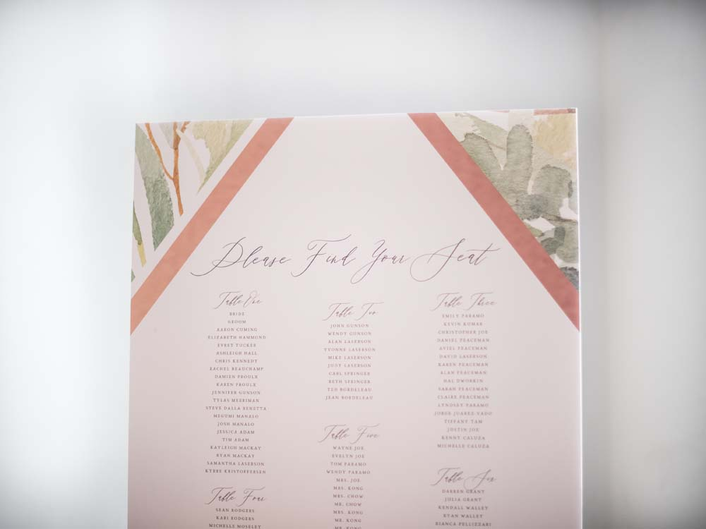a timeless, romantic wedding in vancouver - seating chart