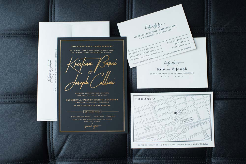 A Classic Vintage inspired Wedding at the One King West in Toronto - Invitations