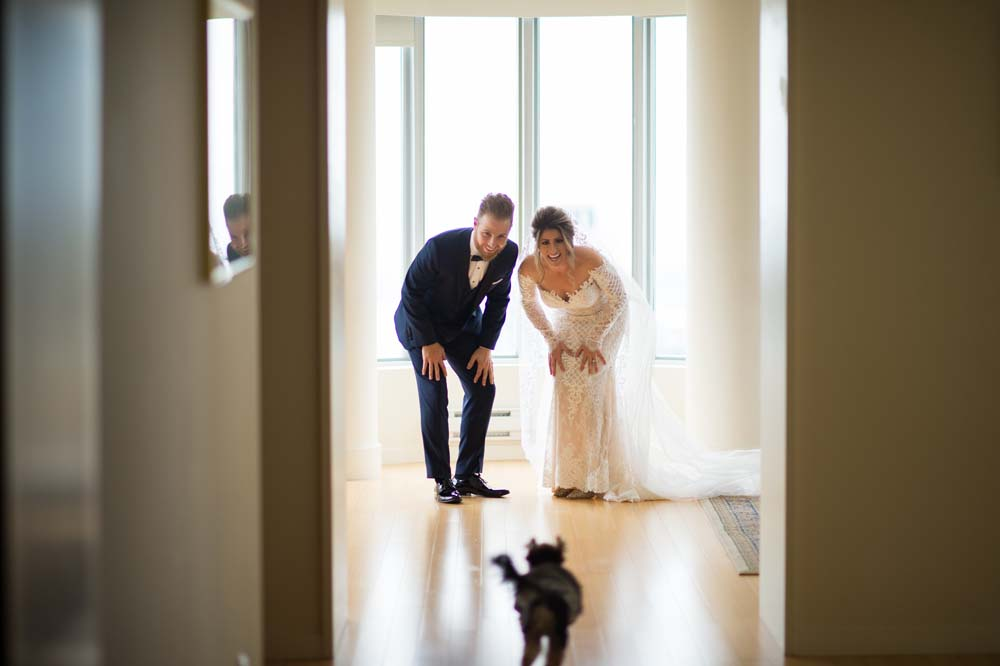 A Classic Vintage inspired Wedding at the One King West in Toronto - Bride, Groom and Dog