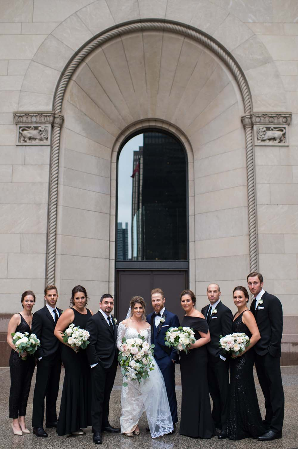 A Classic Vintage inspired Wedding at the One King West in Toronto - Bride and Groom with Wedding Party