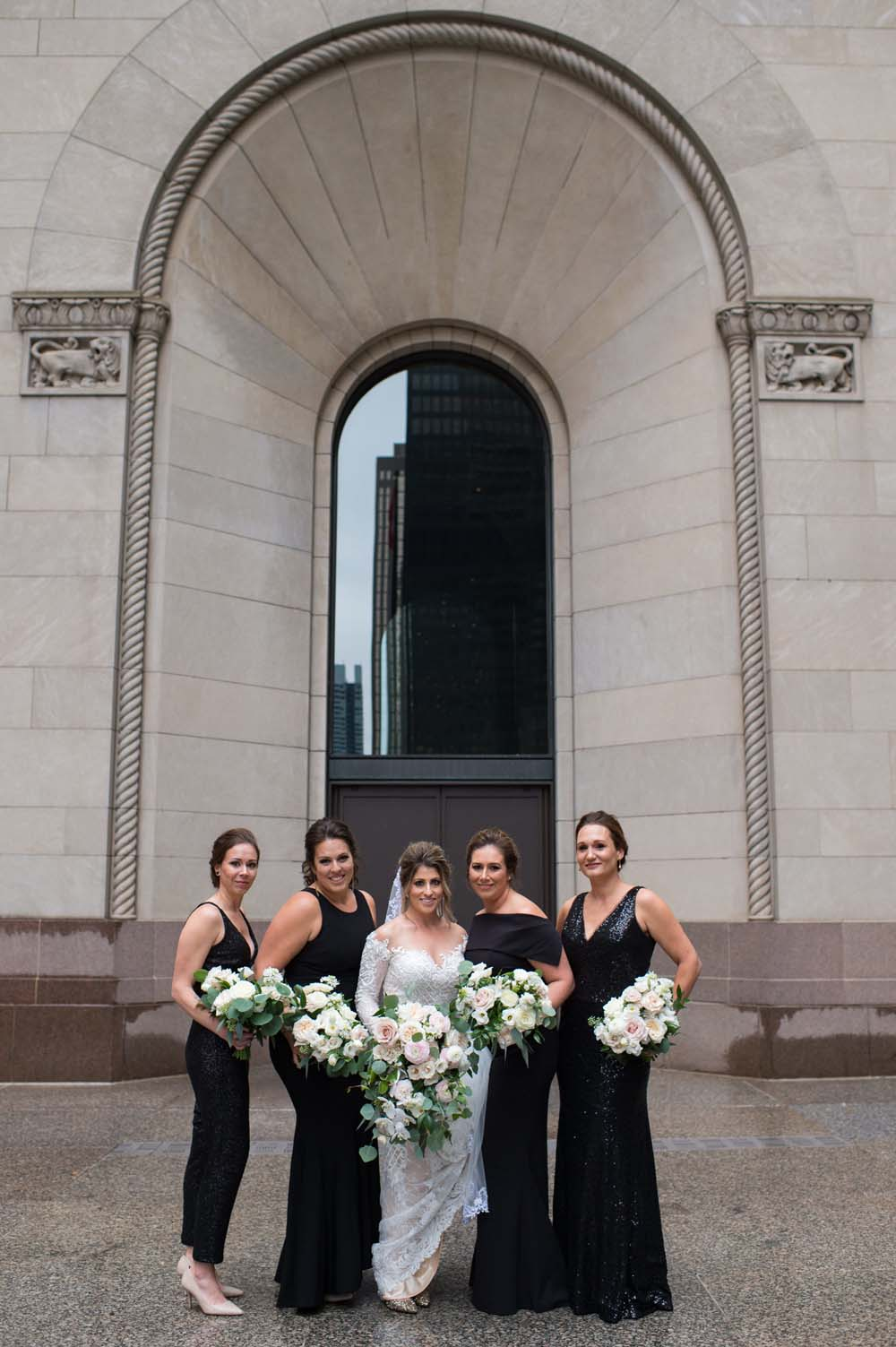 A Classic Vintage inspired Wedding at the One King West in Toronto - Bride with Bridal Party