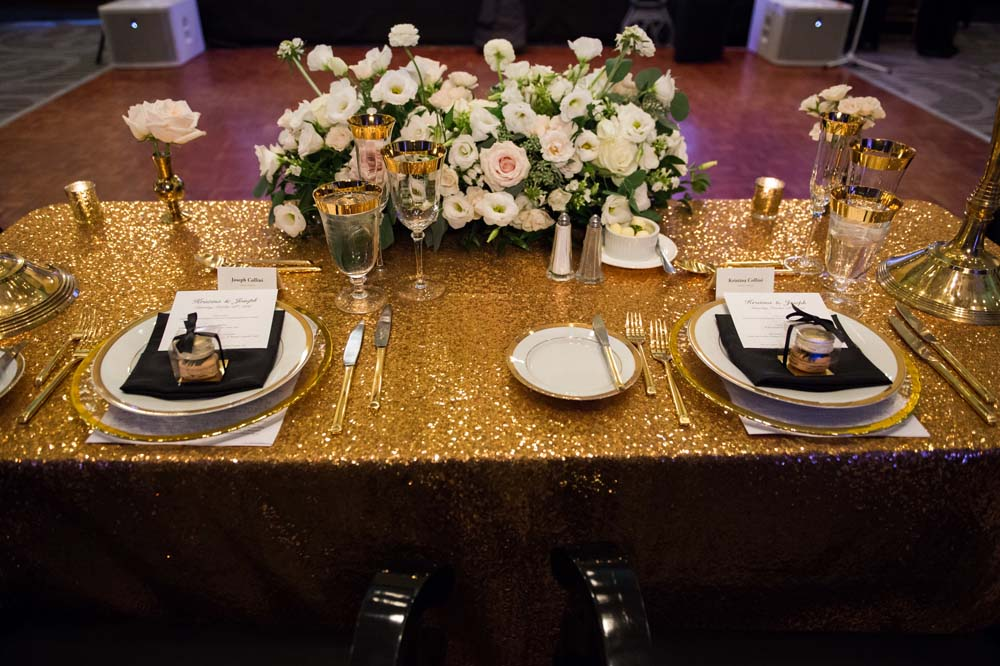 A Classic Vintage inspired Wedding at the One King West in Toronto - Gold Table Display