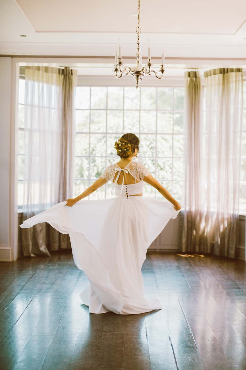 Modern Autumn Botanical Wedding Inspo - Gown from behind