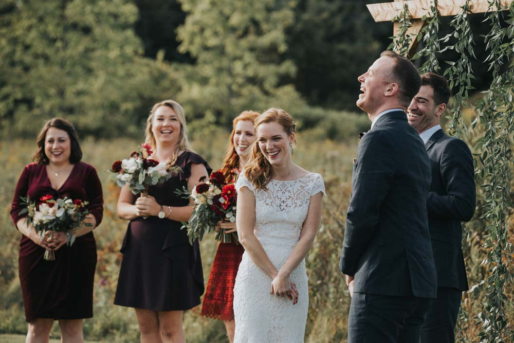 A magical fall wedding in Prince Edward County - Smiling couple