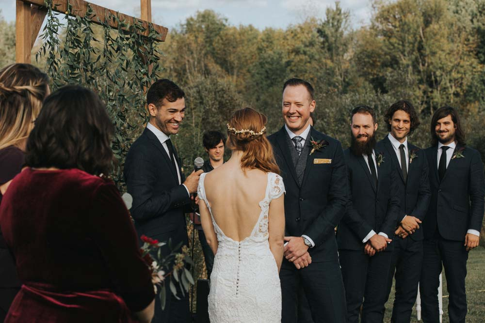 A magical fall wedding in Prince Edward County - Groom during ceremony