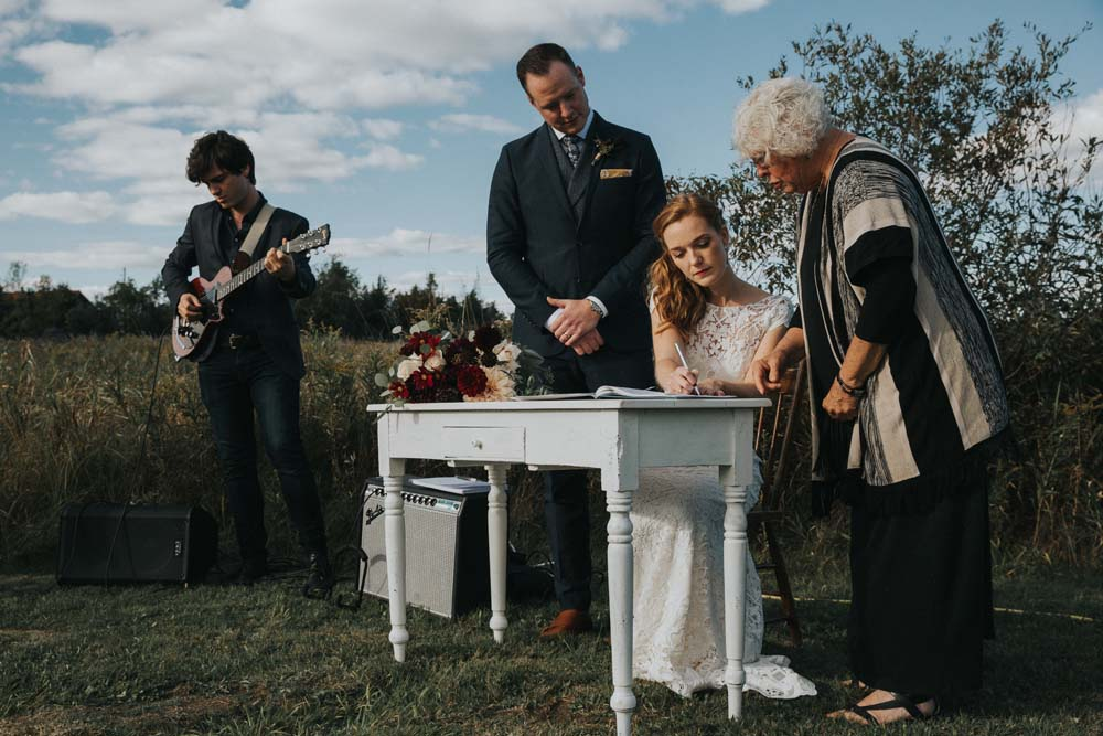 A magical fall wedding in Prince Edward County - Signing table
