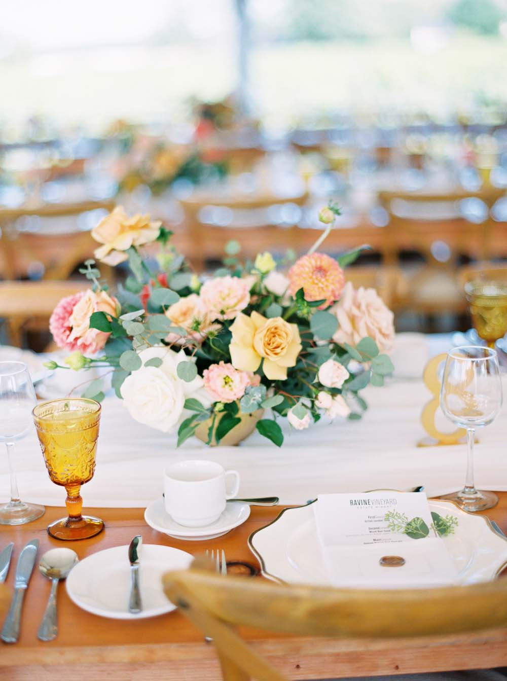 A Floral Peach Celebration in St. David's, Ontario - Table Setting