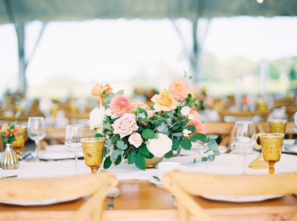 A Floral Peach Celebration in St. David's, Ontario - Centrepiece