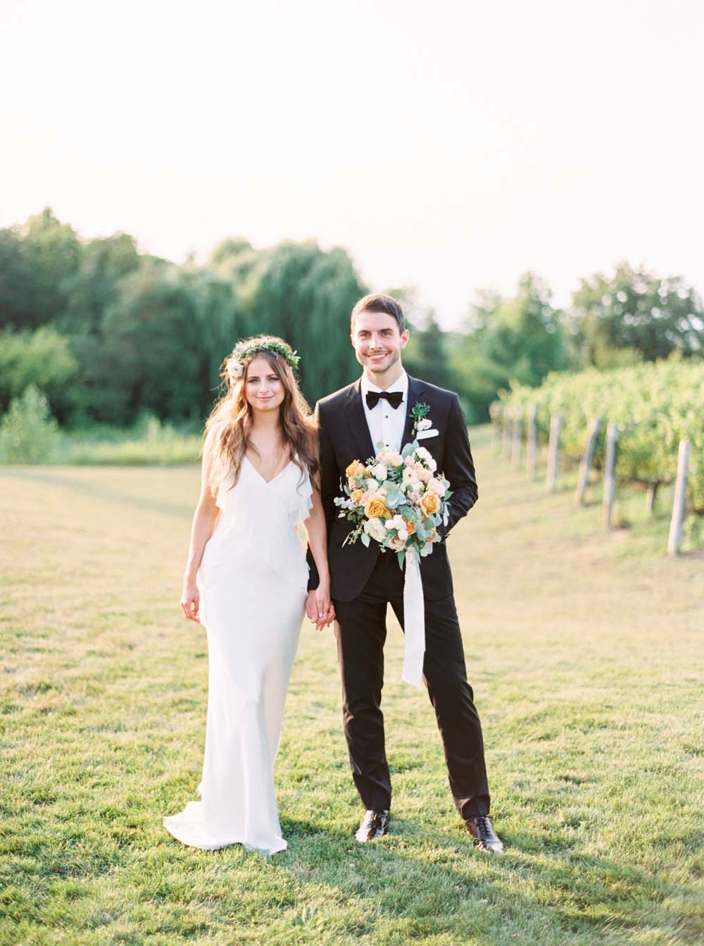 A Floral Peach Celebration in St. David's, Ontario - Bride and Groom