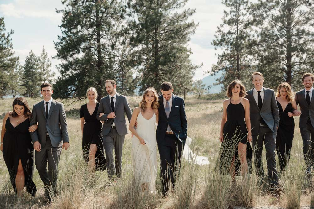 Jill Lansky of The August Diaries' Modern-Chic Wedding In British Columbia - bride and groom with wedding party