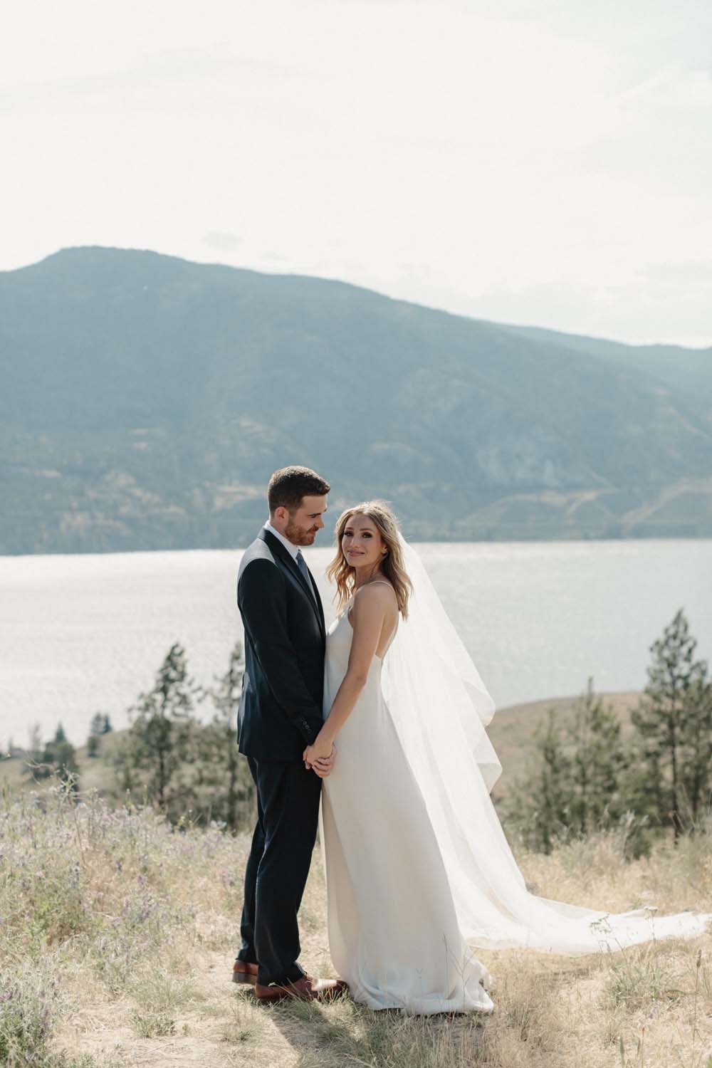 Jill Lansky of The August Diaries' Modern-Chic Wedding In British Columbia - bride and groom