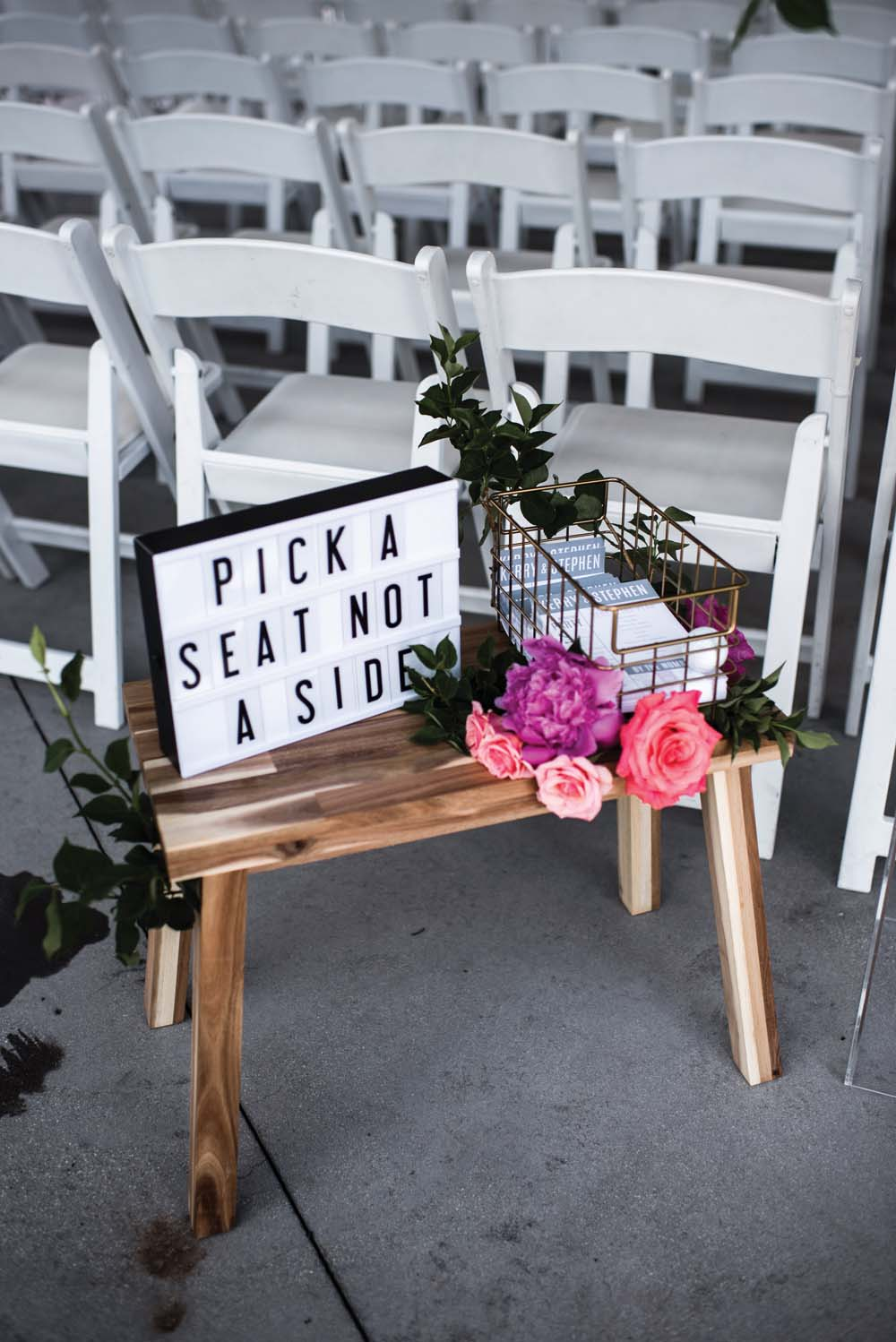 A Bold and Industrial Chic Wedding in Cambridge, Ontario - Seating