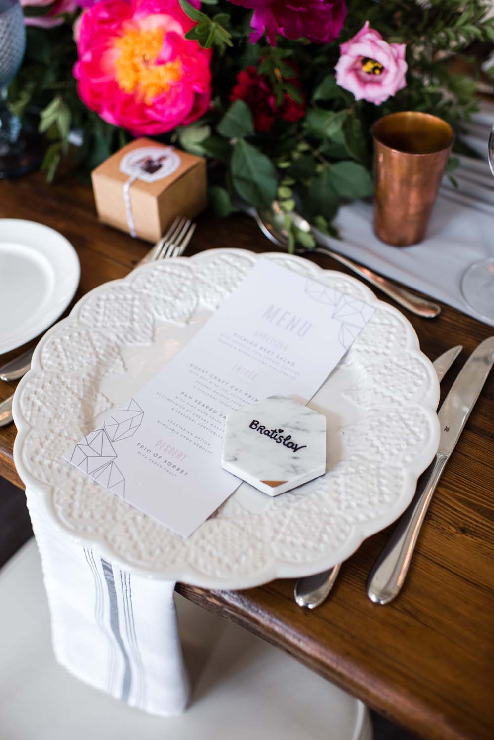 A Bold and Industrial Chic Wedding in Cambridge, Ontario - Place Setting