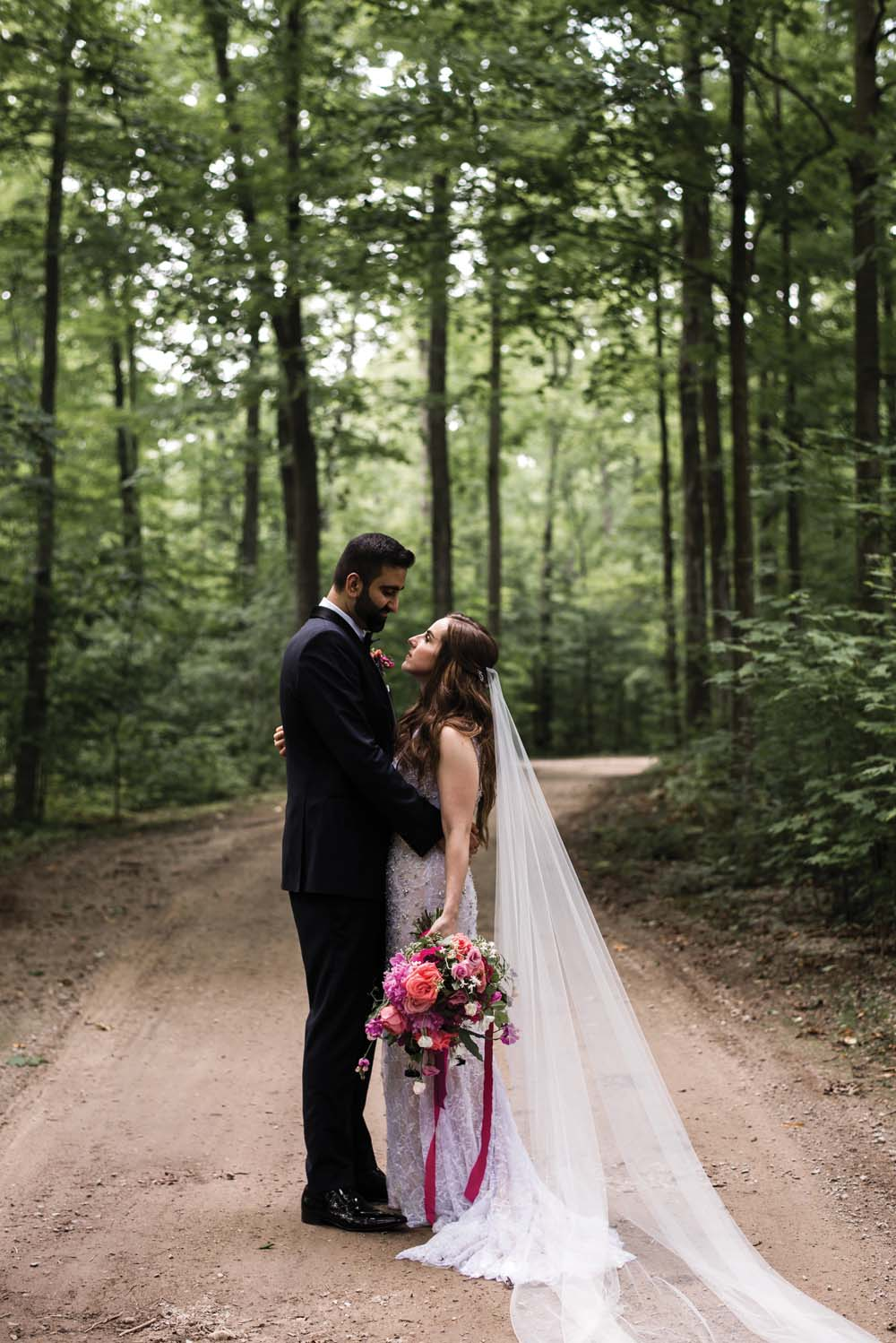 A Bold and Industrial Chic Wedding in Cambridge, Ontario - Bride and groom